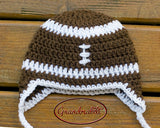Baby Boy Football Hat Brown White Crochet
