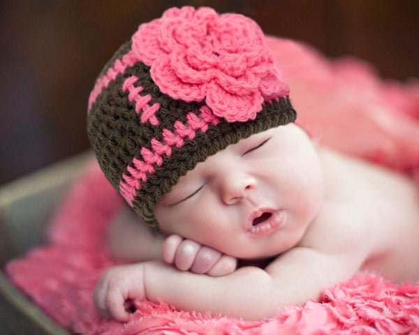 519f9eeee Baby Girl Football Beanie Crochet Brown Hot Pink Hat