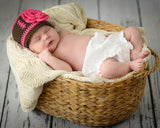 Baby Girl Crochet Brown Pink Football Beanie Hat Newborn Photography