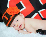 Baby Girl Crochet Brown Orange Football Beanie Hat