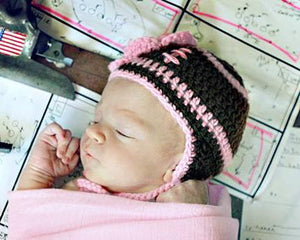 Baby Girl Crochet Football Hat Brown Hot Pink Newborn Photo