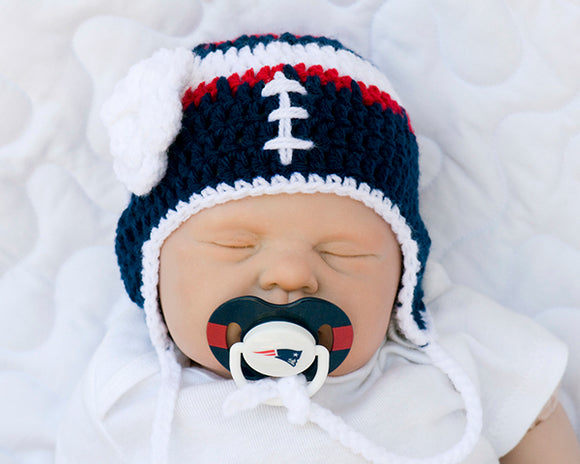 eb761732e New England Patriots Baby Girl Crochet Hat & NFL Pacifier