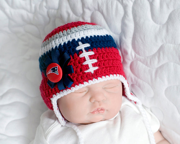 Baby Girl New England Patriots Crochet Hat with Button & Bow
