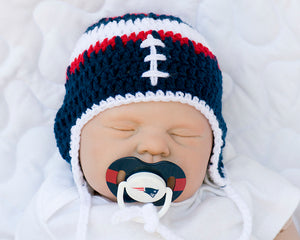 New England Patriots Baby Boy Crochet Hat & NFL Pacifier