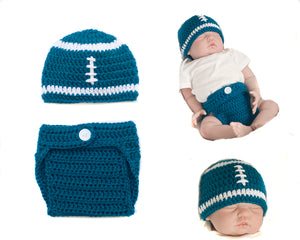 Eagles Baby Boy Teal Football Crochet Hat & Diaper Cover Photo Prop
