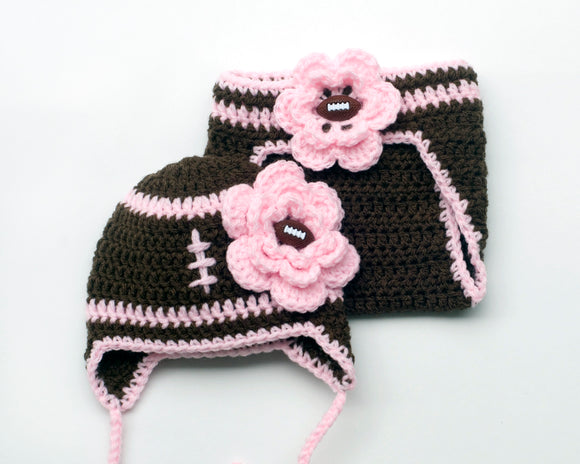 Baby girl football hat diaper cover pink brown