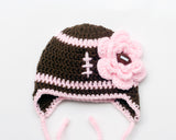 Baby girl football hat pink brown