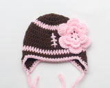 Baby Girl Crochet Football Hat Brown Hot Pink