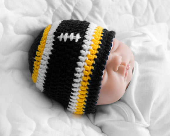 Baby Boy Steelers Football Crochet Beanie hat c9a893ba1