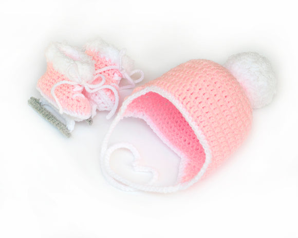 Baby Girl Figure Skates and Hat Crochet Faux-Fur Pom Pom