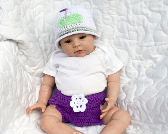 Baby Girl Crocheted Golf Beanie Hat & Diaper Cover Purple