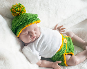 Baby Golf Hat & Diaper Cover Green and Gold