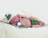 Baby Golf Hat Diaper Cover Crochet Green White Newborn Photography