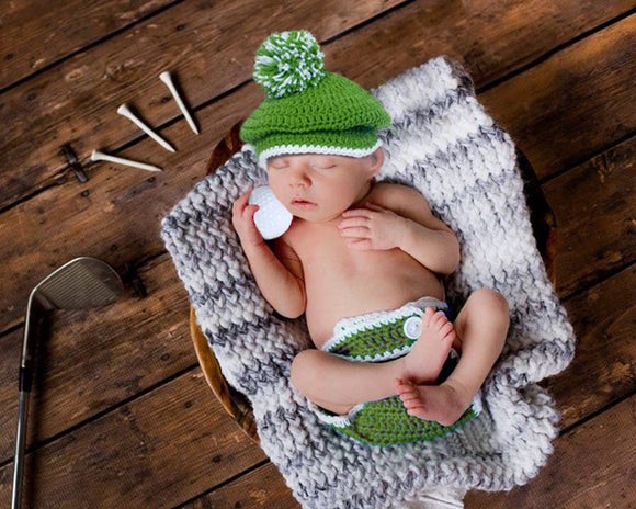 Baby Golf Newsboy Hat & Diaper Cover Newborn Photography