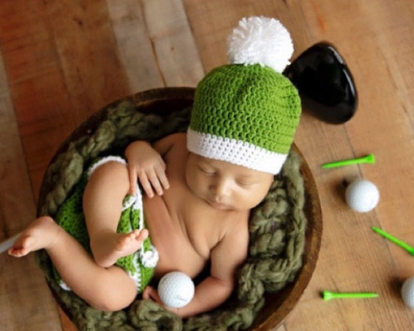 baby crochet golf hat diaper cover green white newborn photography