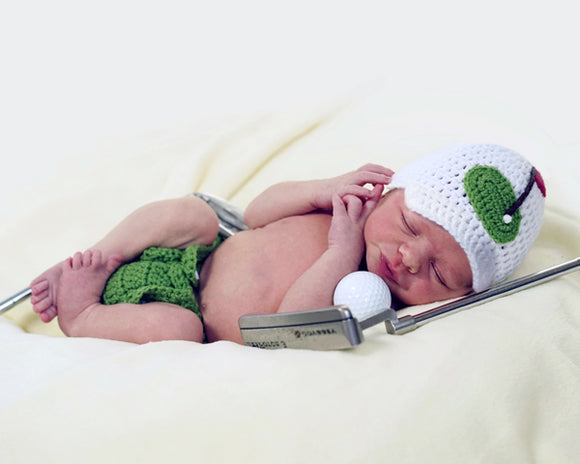 Baby Boy Golf Peaked Hat & Diaper Cover