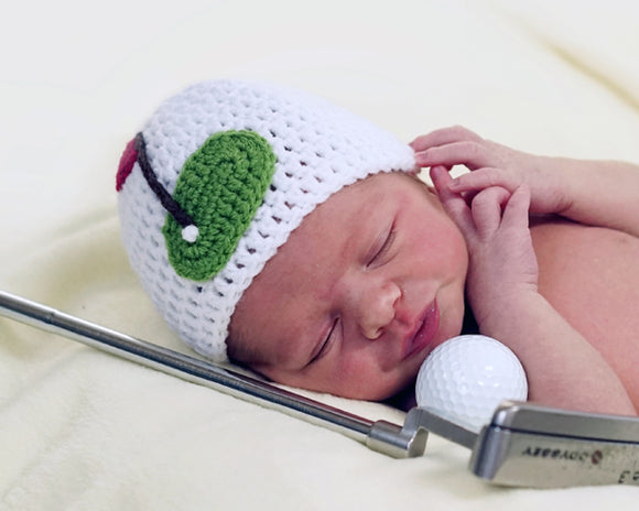 Baby Boy Golf Green White Hat Photography Prop