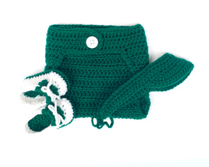 Baby Boy Crochet Golf Emerald Visor Diaper & Shoes