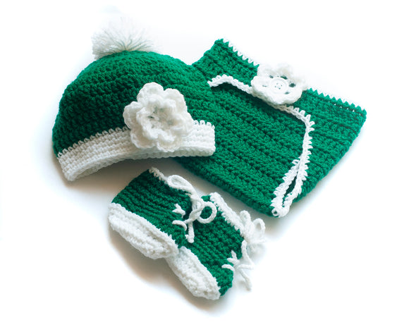 Crochet Baby Girl Golf Hat & Diaper with Flower