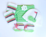 Baby Girl Golf Hat Diaper Cover Socks and Shoes Mint Rose