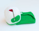 Baby Boy Golf Crochet Green White Beanie & Diaper Cover