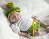 Baby Boy Crochet Golf Hat Gold Yellow Green Newborn Prop