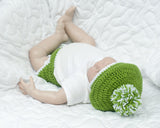 Baby Boy Crochet Golf Hat White Green Newborn Prop