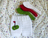 Baby Golf White Shorts & Visor Crochet Newborn Photography Prop