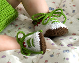 Baby Golf Shoes Crochet Green White Brown