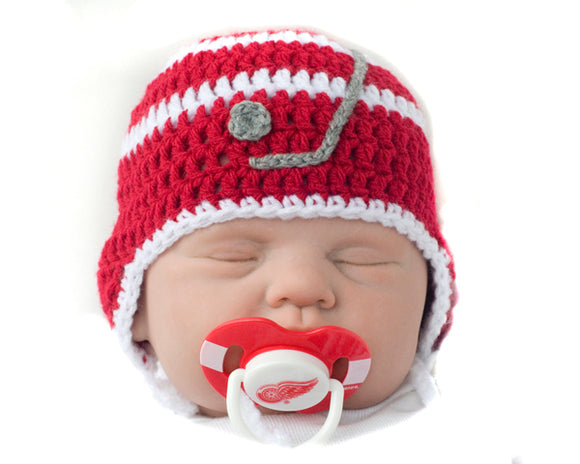 Crochet Baby Hat & Red Wings NHL Pacifier