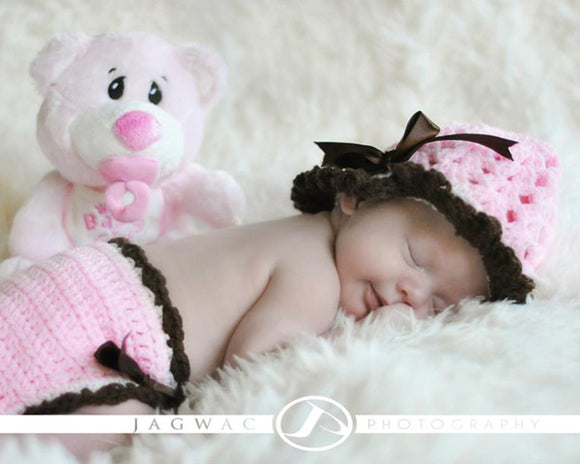 Baby Girl Pink Brown Crochet Hat Diaper Cover Newborn Photography