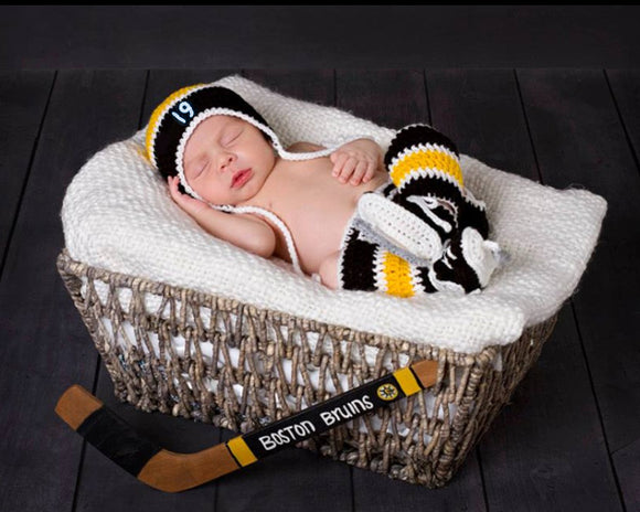 Baby Boy Crochet Boston Bruins Hockey Newborn Photography