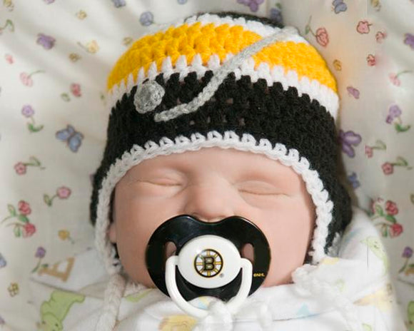 Baby Boy Crochet Boston Bruins Hockey Hat & NHL Pacifier