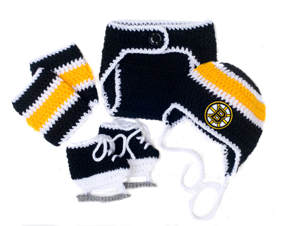 Bruins Hockey Baby Outfit Hat Diaper Cover Skates
