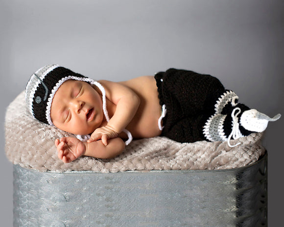 Baby Boy Crochet LA Kings Hockey Black Grey White Newborn Photography