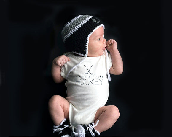 Crochet LA Kings Hockey Baby Boy Black Gray Hat & Skates Baby Photography