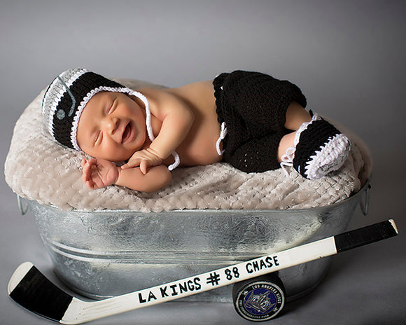 Kings Hockey Baby Boy Hat Pants & Skates Black Gray & White