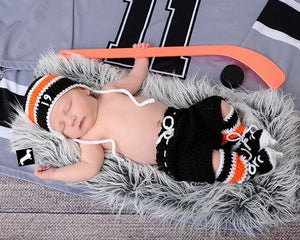 Flyers Hockey Baby Boy Crochet Hat Pants Socks & Skates Newborn Photography