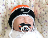 Baby Boy Crochet Philadelphia Flyers Hockey Hat & NHL Pacifier