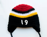 Baby Boy Black Red Gold White Hockey Hat