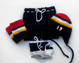 Black Red Gold White Hockey Hat Pants Socks Skates