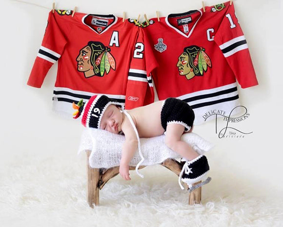 Crochet Baby Boy Chicago Blackhawks Hockey Photography Prop