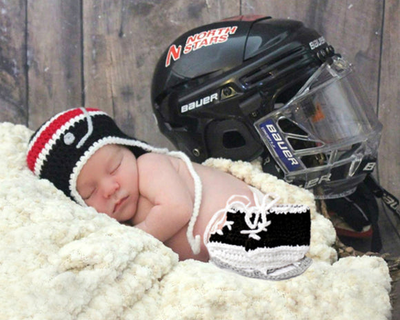 Baby Boy Crochet Hockey Hat Skates Black Red White