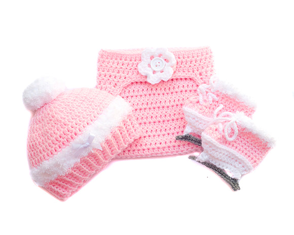Girl Figure Skates Diaper Cover and Hat Crochet Pink Fluffy White Trim