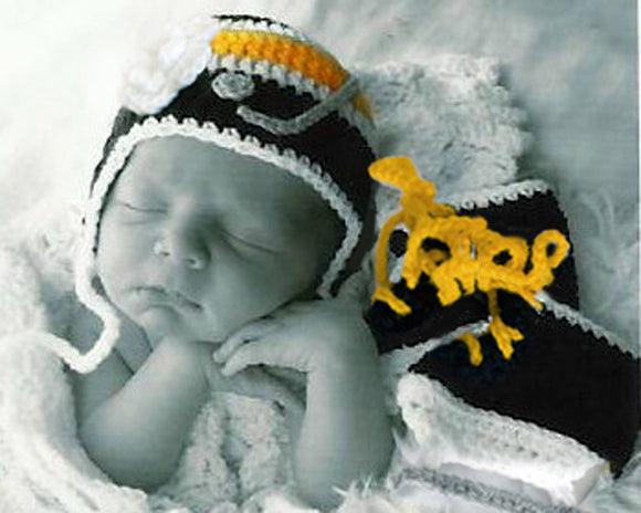 Crochet Baby Girl Hockey Hat & Skates Photo Prop