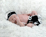 Crochet Baby Girl Hockey Hat Diaper Cover Skates
