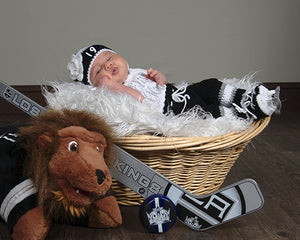 LA Kings Hockey Crochet Baby Girl Hat Pants Socks & Skates