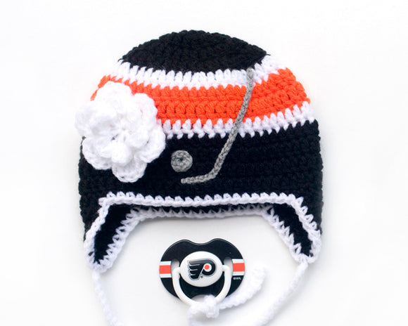 Baby Girl Crochet Philadelphia Flyers Hockey Hat & NHL Pacifier