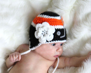 Flyers Hockey Baby Girl Crochet Black & Orange Hat