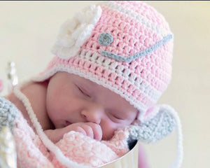 Crochet Baby Girl Pink With Hockey Hat Photography